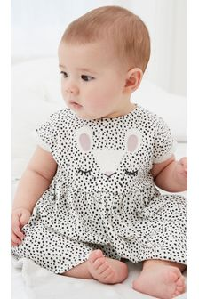 Monochrome Bunny Face Jersey Dress (0mths-2yrs)
