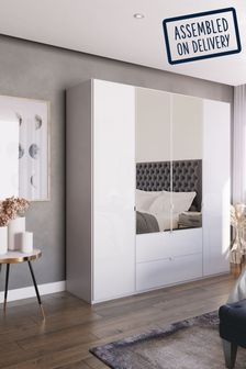 White Glass Monroe Four Door Combination Wardrobe With Mirror