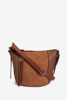 Tan Zip Detail Across-Body Bag