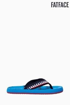 FatFace Blue Shark Print Flip Flops
