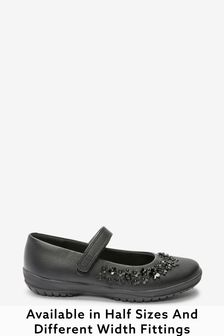 Black Standard Fit (F) Flower Mary Jane Shoes