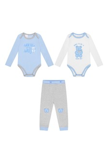 Baby Boys Blue Cotton Trousers Set (3 Piece)