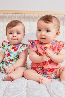 Pink 2 Pack Tropical Floral Rompers (0mths-3yrs)