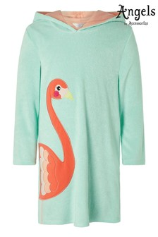 Angels By Accessorize Blue Flora Flamingo Towelling Kaftan
