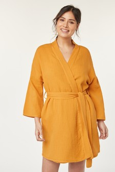 Ochre Textured Cotton Robe
