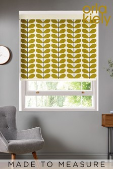 Two Colour Stem Olive Green Made To Measure Roller Blind by Orla Kiely