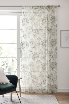 Watercolour Tree Print Slot Top Single Voile Panel