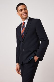 Navy Slim Fit Two Button Suit: Jacket