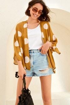 Brown/Cream Spot Print Kimono