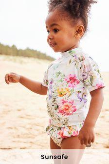 Ecru Floral 2 Piece Sunsafe Suit (3mths-7yrs)