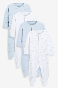 Pale Blue 4 Pack Organic Cotton Elephant Sleepsuits (0-2yrs)