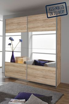 Oak Central Mirror Cameron 1.81m Sliding Wardrobe by Rauch