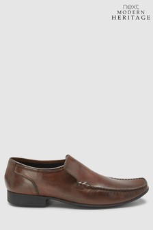 Brown Leather Slip-On Shoes