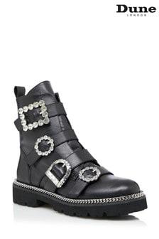 Dune London Pagola Black Embellished Ankle Boots