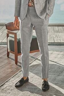 Light Grey Textured Trousers Linen Blend Textured Slim Fit Suit