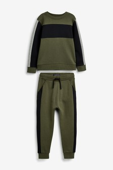 Khaki Crew And Joggers Set (3-16yrs)