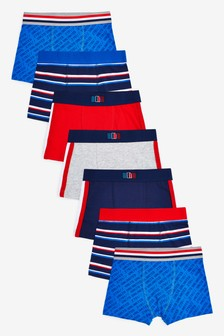 Red/Blue 7 Pack Trunks (2-16yrs)