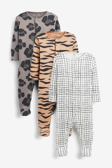Grey 3 Pack GOTS Organic Animal Print Sleepsuits (0mths-2yrs)