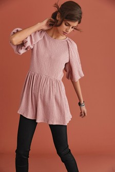 Pink Textured Puff Sleeve Tunic