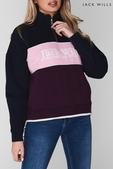 Jack Wills Navy Esther Half Zip Sweater
