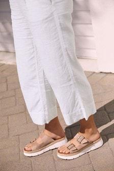 Nude Leather Double Buckle Flatform Sandals