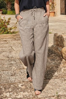 Check Linen Blend Wide Leg Trousers