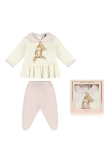 Baby Girls Cotton Teddy Top & Trousers Set
