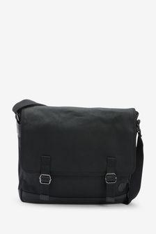 Black Canvas Messenger Bag