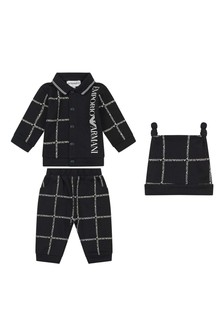 Baby Boys Navy Cotton Three Piece Trouser Set