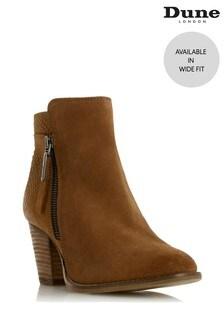 Dune London Camel Ponntoon Wide Fit Side Zip Ankle Boots