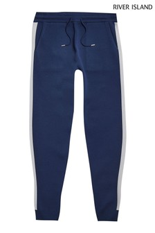 River Island Navy Premium Taped Joggers