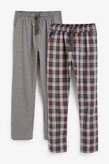 Grey Lightweight Check Pyjama Bottoms Two Pack