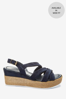 Navy Leather Soft Knot Wedge Sandals