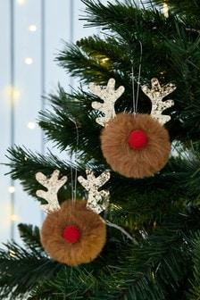 Set of 2 Reindeer Baubles