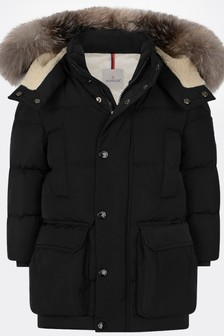 Boys Black Down Padded Tiam Long Jacket