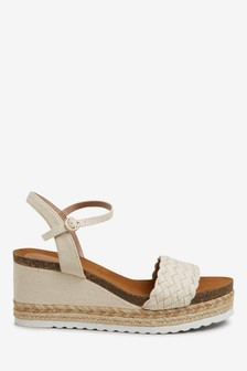 Natural Weave Strap Cork Footbed Wedges