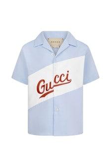 قميص قطن أزرق للأولاد البيبي