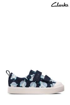 Clarks Navy Interest City Bright T Canvas Shoes