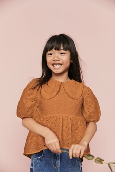 Ginger Cotton Broderie Collar Blouse (3-16yrs)