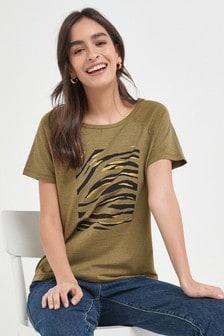 Khaki Zebra Print Raglan T-Shirt