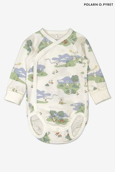Polarn O. Pyret Natural Organic Cotton Rabbit Print Wrap Babygrow