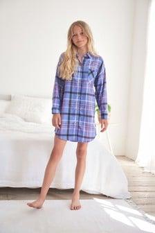 Lilac Brushed Woven Check Nightshirt (3-16yrs)