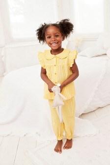 Yellow Gingham Seersucker Button Through Ruffle Shoulder Pyjamas (9mths-8yrs)