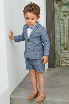 Blue Blazer, Shirt, Shorts And Bow Tie Set (3mths-7yrs)