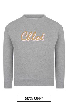 Girls Grey Cotton Logo Sweater