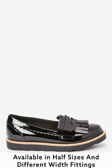 Black Patent Wide Fit (G) Tassel Loafers