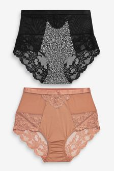 Spot Print Micro Lace High Waist Knickers 2 Pack