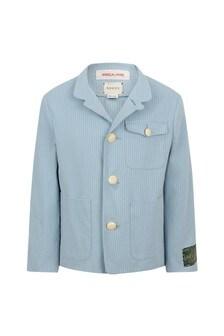 Boys Light Blue Striped Jacket