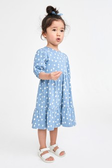 Blue Spot Tiered Dress (3mths-7yrs)