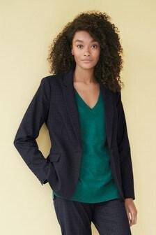 Navy Textured Tailored Suit Jacket